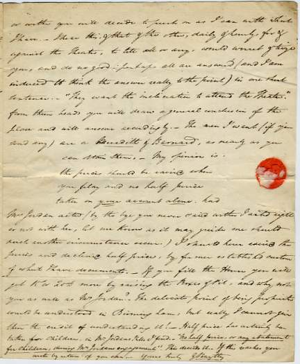 The image is of one page of a letter to Elliston.